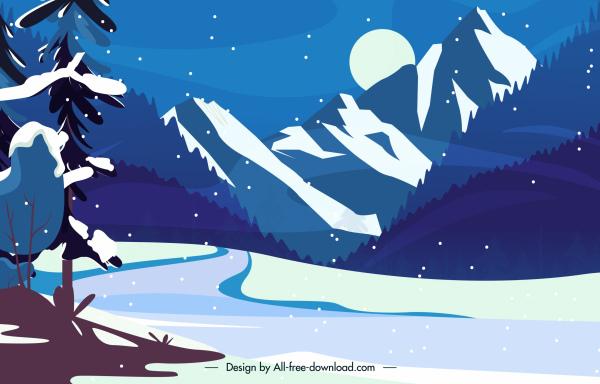 winter scenery background snowy mountain night moon sketch