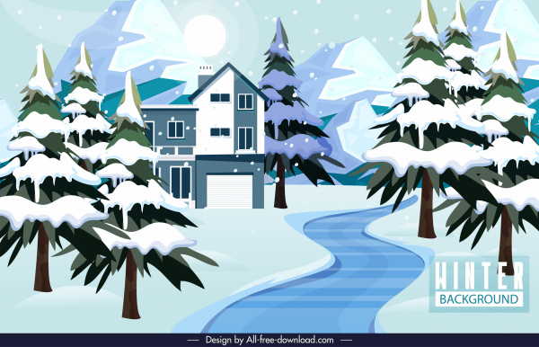 winter scenery background snowy trees houses sketch