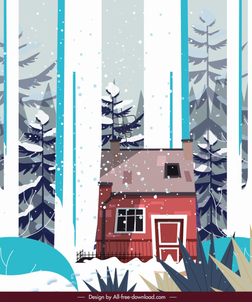 winter scenery painting snowfall cottage sketch classical design