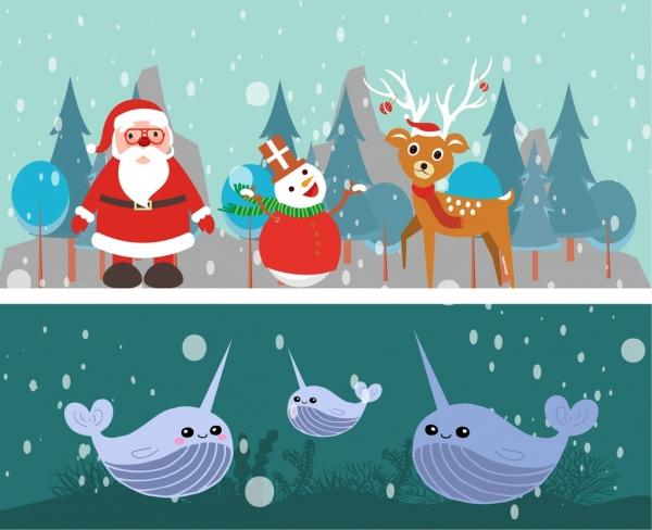 winter themes design christmas and submarine decoration