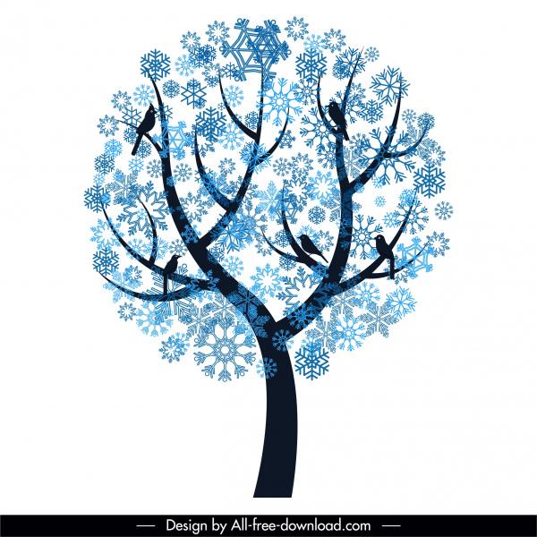 winter tree icon snowflakes decor flat silhouette