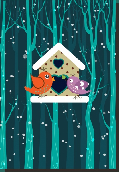 winter valentines theme colored birds and nest design
