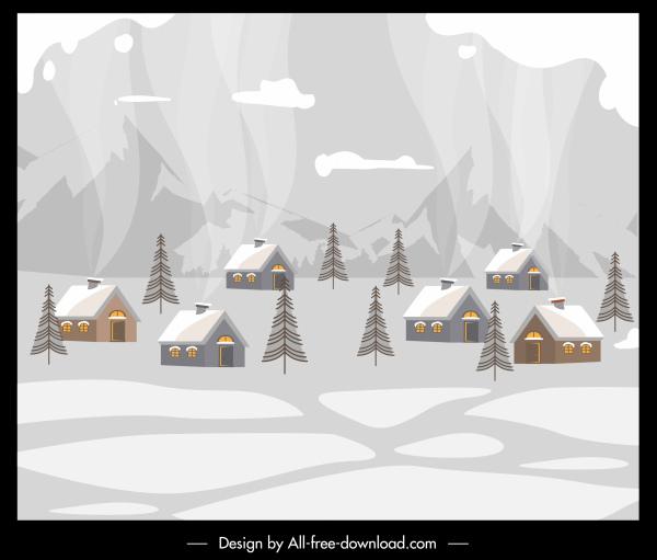 winter village painting cottages snow sketch retro design