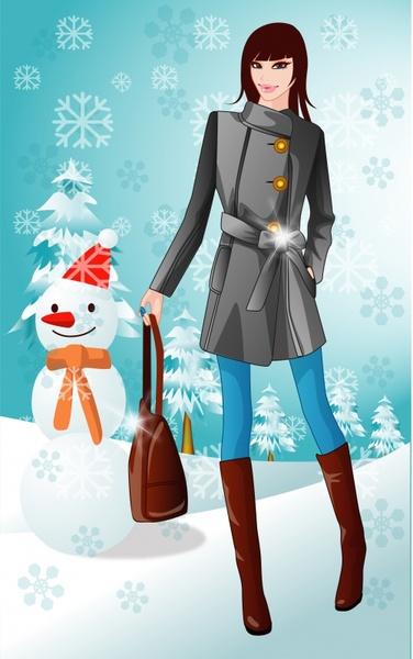 winter clothes advertising elegant modern design cartoon sketch