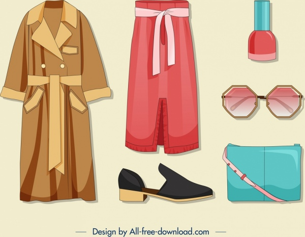 woman accessories icons clothing fashion objects