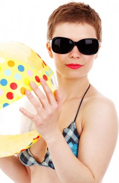 woman and beach ball
