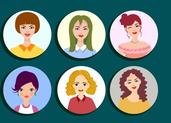 woman avatar icons cartoon characters circles isolation