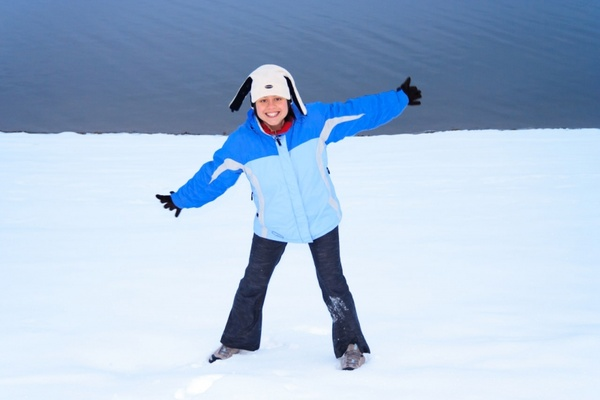 woman enjoying winter