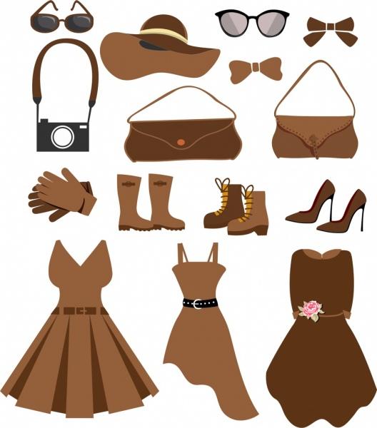 woman fashion accessories icons black brown design