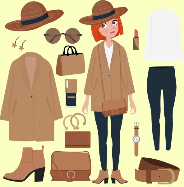 woman fashion accessories icons colored cartoon design