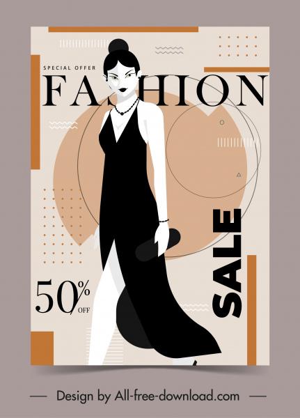 woman fashion banner elegant lady sketch modern design