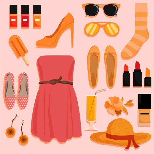 woman fashion design elements personal accessories icons