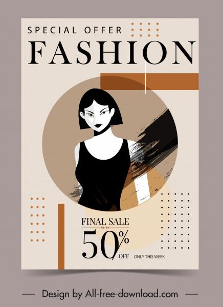 woman fashion sale poster grunge decor model sketch