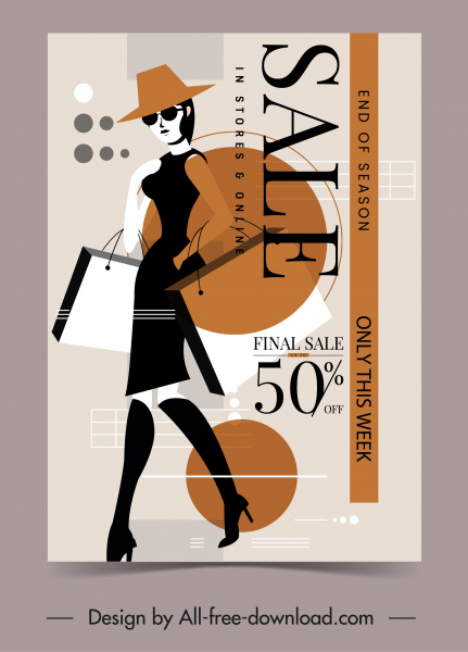woman fashion sale poster lady sketch modern design
