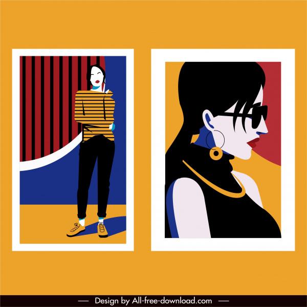 woman fashion template elegant design colorful classic sketch