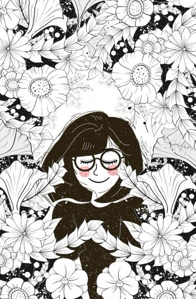 Woman Flowers Drawing Black White Sketch