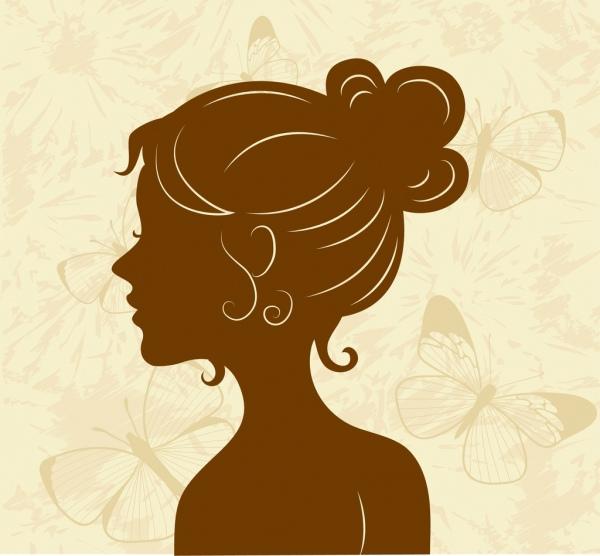 woman icon brown silhouette sketch butterflies backdrop