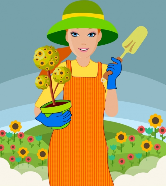 woman icon gardening work colorful drawing