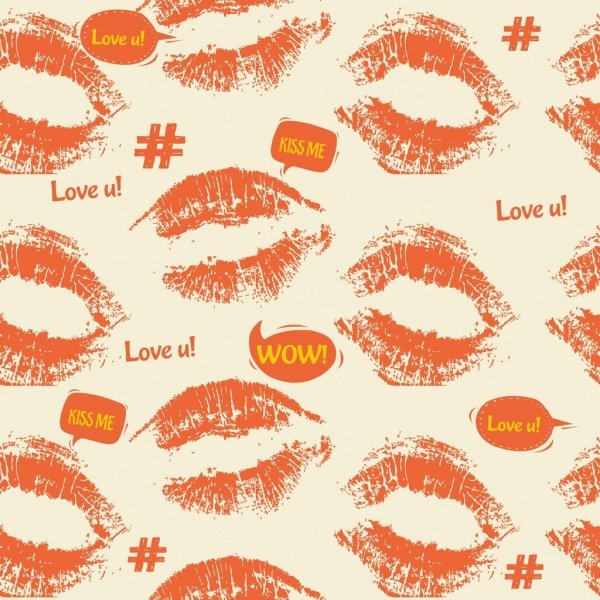 woman lips background red printed icons repeating design