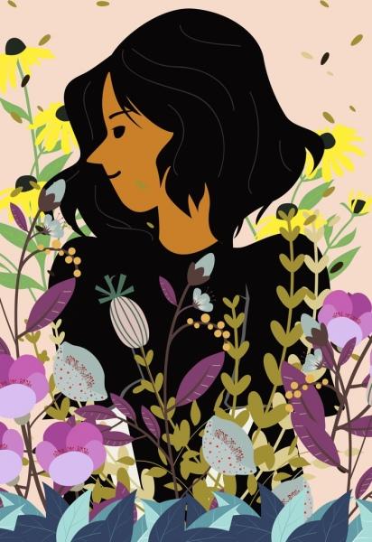 woman portrait drawing colorful flowers decoration cartoon design
