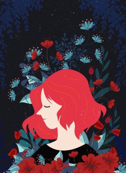 woman portrait drawing dark red flowers decor