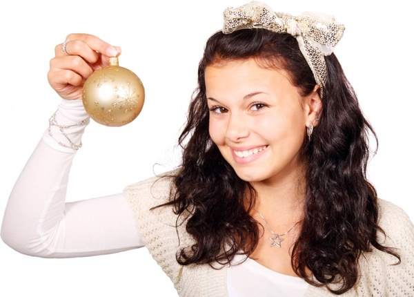 woman with christmas bulb