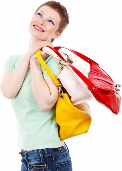 woman with colorful bags