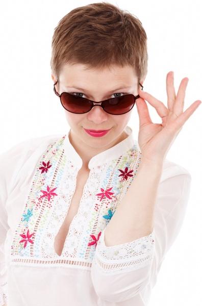 woman with dark sunglasses