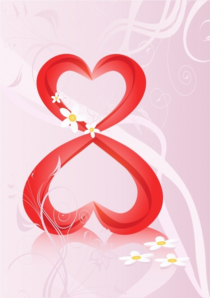 woman day background hearts number layout modern dynamic