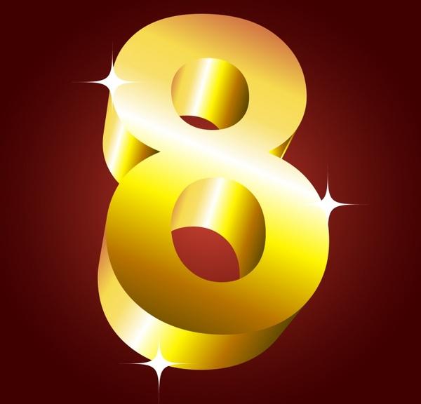 women day background sparkling number shiny golden 3d