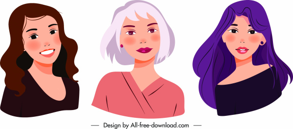 women avatar icons young ladies sketch cartoon characters