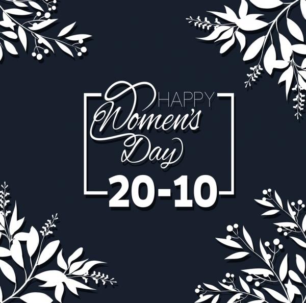women day banner black white flowers calligraphic design