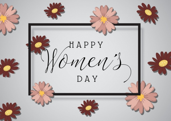 women day banner calligraphic flowers decoration
