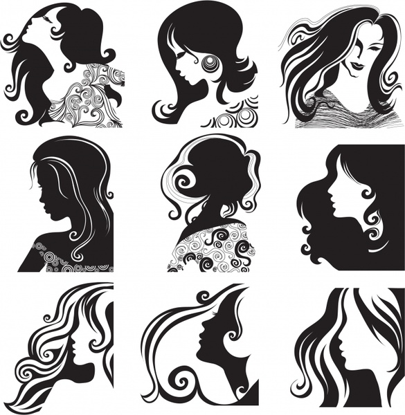 Woman Hairstyle Icons Black White Classical Sketch Free Vector In