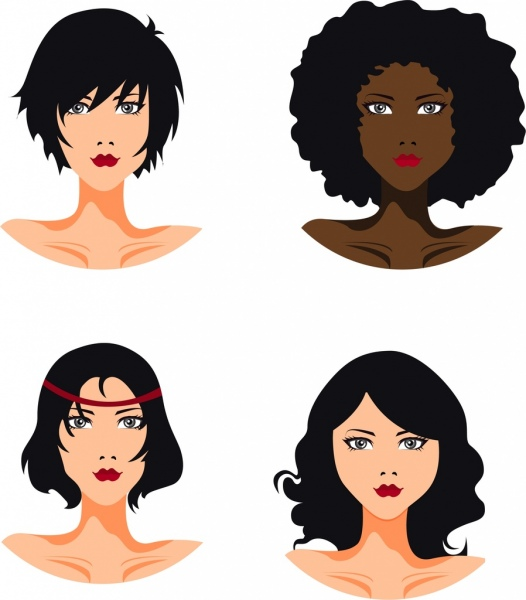 women hairstyle template modern style portrait icons free vector in