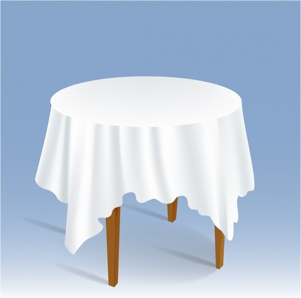 Round Table With Tablecloth.Wood Round Table With Tablecloth Free Vector In Adobe Illustrator Ai