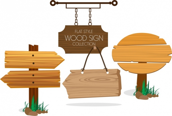 wood sign collection various flat shapes free vector in adobe
