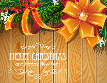 wooden background with christmas ornament vector