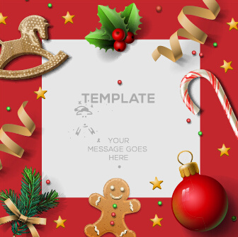 wooden baubles merry christmas vector cards