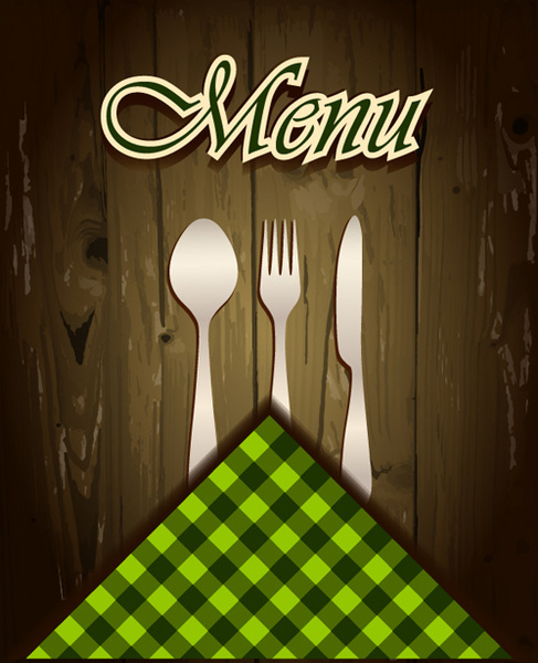 wooden board background menu cover vector