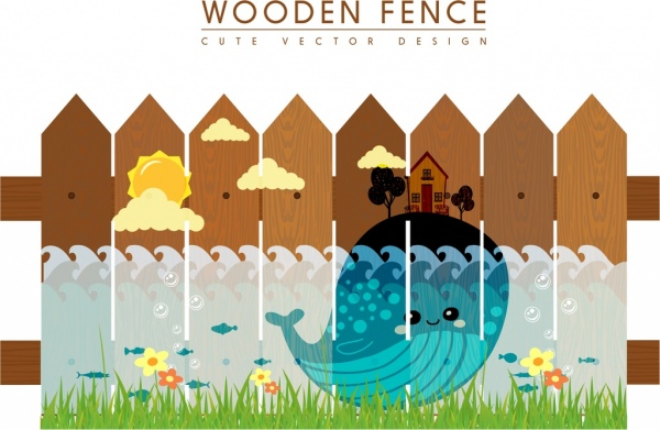 Wooden Fence Design Template Marine Life Decoration Free Vector 5 48mb