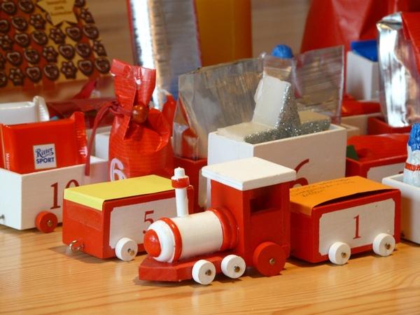 wooden train toys advent calendar