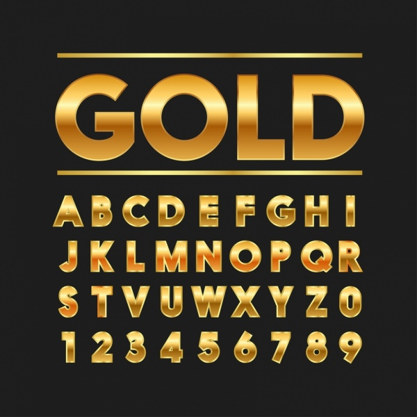 words numbering signs background shiny golden decoration