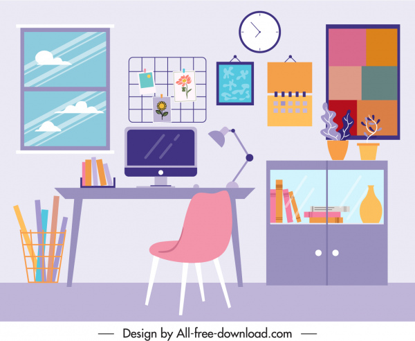 work space decor template colorful flat sketch