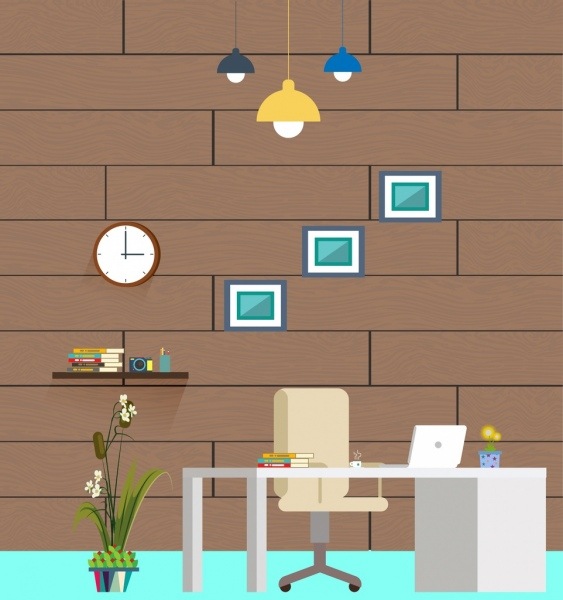 Work Space Interiors Design Colored Icons Decor Free Vector In Adobe