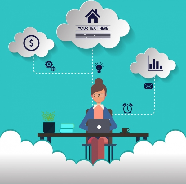 working concept infographic woman interface cut cloud icons