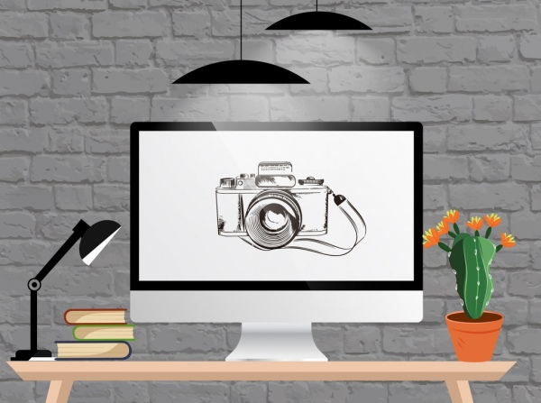 Workplace background computer screen table lights camera icons Free