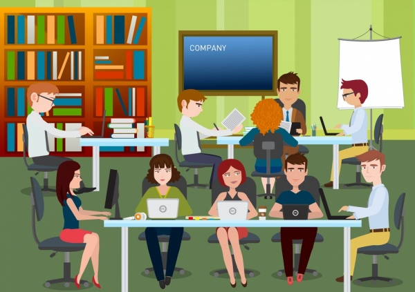 workplace background human icons 3d colored decor