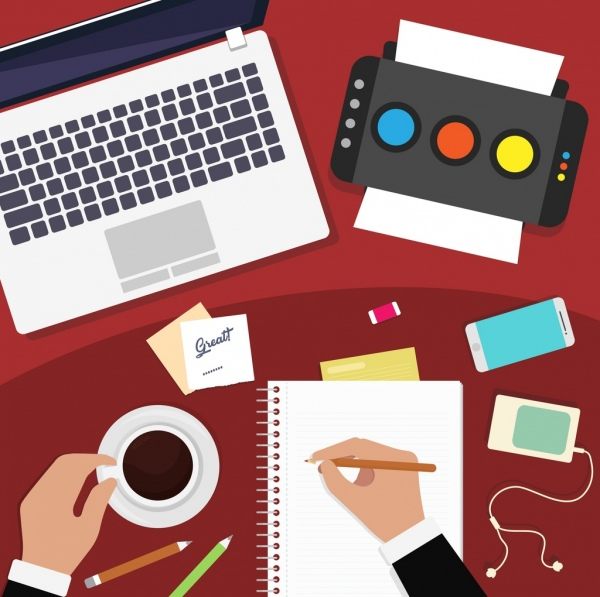 workplace background laptop printer notebook hands coffee icons