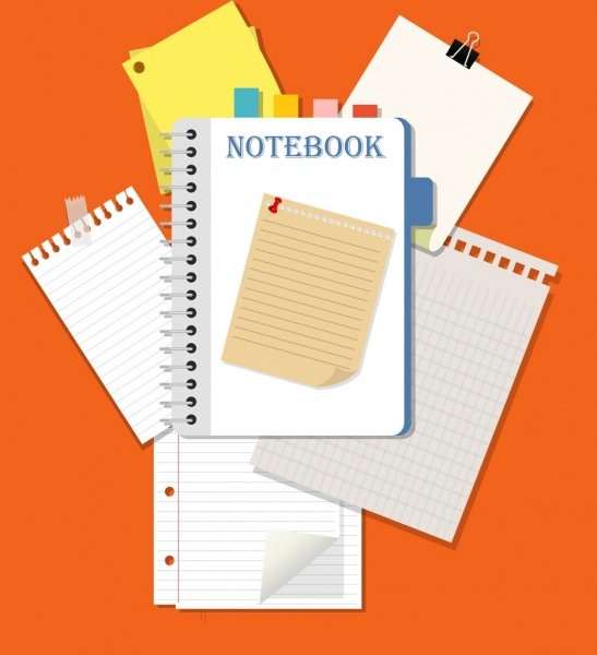 workplace background notebook paper clip icons